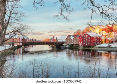 Trondheim, Norway - 02/01/2019 : Winter in Trondheim, the view of the river Nidelva and The Old Bridge