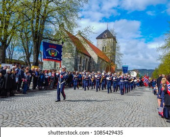 Trondheim, Norway - 05/17/2016: Celebration of May 17th - the National Day of Norway in the city of Trondheim - orchestra marching through the streets