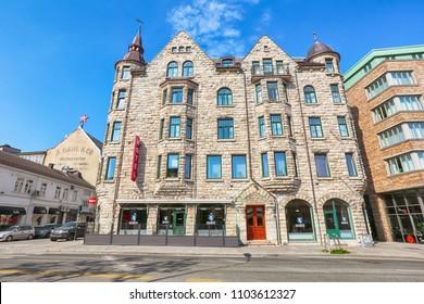 Trondheim, Norway 05/29/2018 : the building of the Thon hotel Nidaros in Trondheim