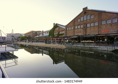 Trondheim, Norway 07/28/2019 Shopping moll Solsiden in the Norwegian city trondheim during sunset in the summer