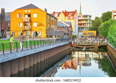 Trondheim, Norway 07/28/2019 the view of the cafe Loekka in the Norwegian city trondheim, during sunset in the summer
