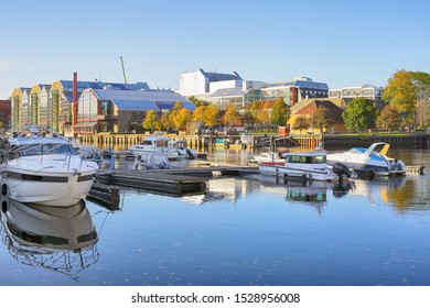Trondheim, Norway 10/09/2019 Fall in trondheim, view of the river Nidelva and hotel Radisson