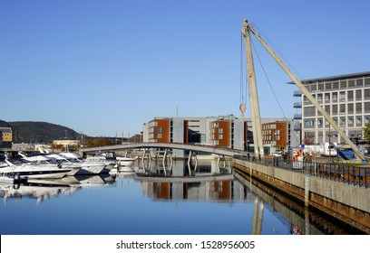 Trondheim, Norway 10/09/2019 the Flower Bridge and hotel Scandic in the Norwegian city Trondheim