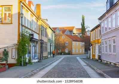 Trondheim, Norway 10/09/2019 Residential district Bakklandet with colorful wooden houses in the Norwegian city Trondheim