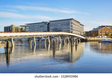Trondheim, Norway 10/09/2019 River Nidelva and Flower Bridge in the Norwegian city Trondheim