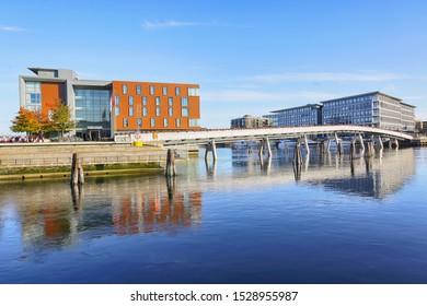 Trondheim, Norway 10/09/2019 River Nidelva , Flower bridge and hotel Scandic Nidelven in the Norwegian city trondheim