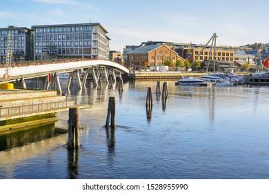 Trondheim, Norway 10/09/2019 river Nidelva, the Flower Bridge and shopping mall Solsiden in the Norwegian city trondheim