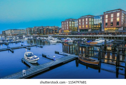 Trondheim, Norway 10/25/2016 : marina at the river Nidelva in the Norwegian city Trondheim