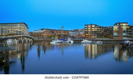 Trondheim, Norway 10/25/2016 : the view of the river Nidelva, Flower Bridge and shopping center Solsiden in the Norwegian city Trondheim