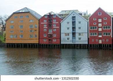 TRONDHEIM, NORWAY, 17 May 201: Colorful canals of Trondheim