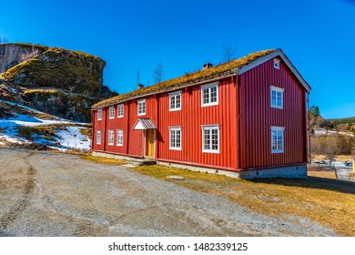 TRONDHEIM, NORWAY, APRIL 16, 2019: Examples of rural architecture in the Trondelag folk museum in Trondheim, Norway