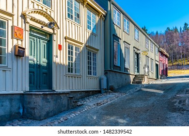 TRONDHEIM, NORWAY, APRIL 16, 2019: Typical norwegian architecture in the urban section of the Trondelag folk museum in Trondheim, Norway