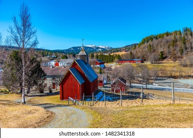 TRONDHEIM, NORWAY, APRIL 16, 2019: Traditional church in the Trondelag folk museum in Trondheim, Norway
