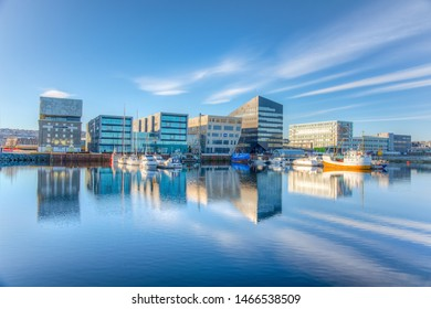 TRONDHEIM, NORWAY, APRIL 17, 2019: Marina in Trondheim with Rockheim museum of rock music, Norway