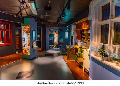 TRONDHEIM, NORWAY, APRIL 17, 2019: Interior of exhibition hall inside of the Trondelag folk museum in Trondheim, Norway