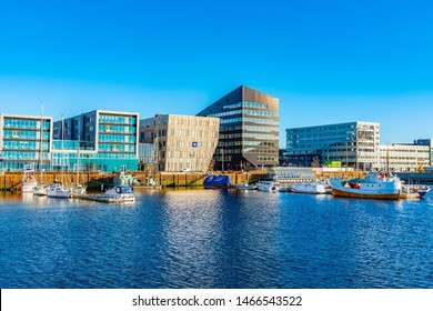 TRONDHEIM, NORWAY, APRIL 17, 2019: View of Trondheim marina in Norway