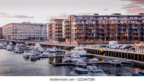 Trondheim, Norway - April 25, 2017: Panorama of Trondheim city center in Norway