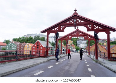 Trondheim, Norway - August 2, 2016 : Bryggen, the warehouses  are located along the banks of the river Nidelven in old town district in Trondheim , Norway.