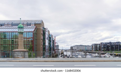 Trondheim, Norway - August 2, 2016 : Beautiful modern architecture are located along the banks of the river Nidelven in Trondheim, Norway.