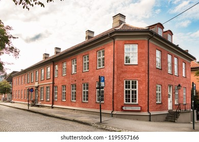 Trondheim, Norway - August 28th, 2018: The Trondheim Public Foundation hospital and senior housing (Hospitalsløkkan) at the city center of Trondheim.