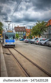 TRONDHEIM, NORWAY - JULY 16, 2019: The Trondheim Tramway in Trondheim, Norway, is the world's most northerly tramway system.