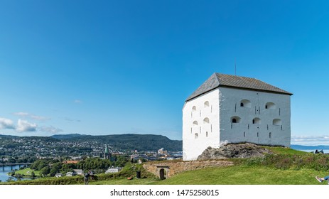 TRONDHEIM, NORWAY - JULY 17, 2019: Kristiansten Fortress is located on a hill east of the city of Trondheim, Norway. It was built after the great fire of 1681 to protect the city from attack.