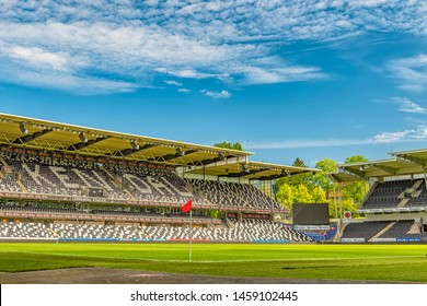 TRONDHEIM, NORWAY - JULY 18, 2019: The Lerkendal Stadion is an all-seater football stadium located at Lerkendal in Trondheim, Norway and the home to Eliteserien side Rosenborg BK.