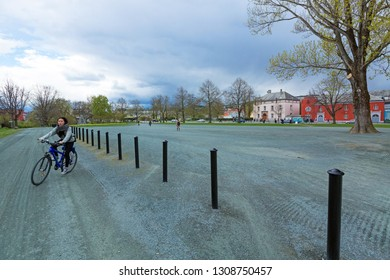 Trondheim, Norway - June 6, 2017: The Trampe bicycle lift, Norwegian: Sykkelheisen Trampe. The bicycle lift, developed in Trondheim, goes up the steep hill at Brubakken near Gamle Bybro.