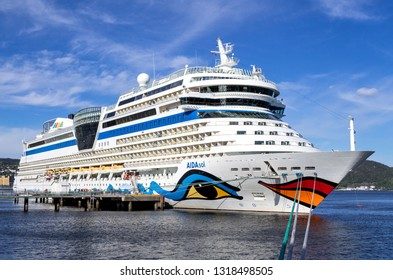TRONDHEIM, NORWAY - June 9, 2017: AIDAsol at Cruise Pier 68. AIDAsol is a Sphinx class cruise ship, built at Meyer Werft for AIDA Cruises, one of ten brands owned by Carnival Corp.