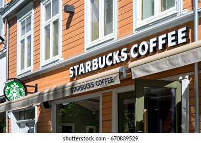 TRONDHEIM, NORWAY - June 9, 2017: Starbucks coffeehouse. Starbucks Corporation is an American coffee company and coffeehouse chain, headquartered in Seattle, Washington.