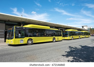 TRONDHEIM, NORWAY - June 9, 2017: Gas-powered MAN Lion's City busses of AtB at the stop Sentralstasjon. Trondheim is the city in Norway with the most gas buses in operation.
