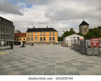 Trondheim, Norway - Mai 31, 2019: Historic buildings of the Norwegian city. Colorful elevations of the museum, town hall and shops in the center. The main square of the Norwegian city.