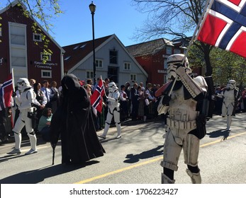 TRONDHEIM, NORWAY - MAY 17, 2019: The 501st Legion Nordic Garrison takes part in the citizens parade on Constitution Day.