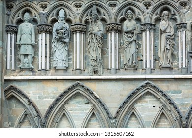 Trondheim, Norway - May 22, 2018 : Beautiful facade details of Nidaros Cathedral, a Church of Norway cathedral , the northernmost medieval cathedral in the world located in the city of Trondheim.