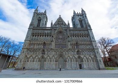 TRONDHEIM, NORWAY - MAY 22, 2018: Nidaros Cathedral or Nidarosdomen or Nidaros Domkirke is a Church of Norway cathedral located in the city of Trondheim, Norway .