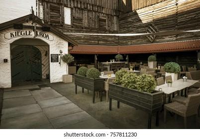 Trondheim, Norway - May 26, 2017: Outdoor part of Kiegle Kroa restaurant in Trondheim, Norway