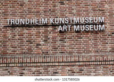 Trondheim, Norway - May 29, 2016: The Trondheim Art museum facade sign.