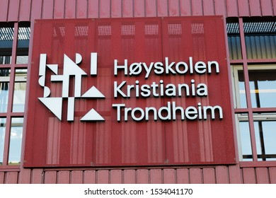 Trondheim, Norway - October 14, 2019: The Kristiania University College in Trondheim sign.