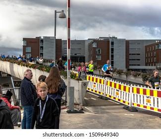TRONDHEIM, NORWAY - SEPTEMBER 07, 2019: Runners competing in the 2019 Trondheim marathon.