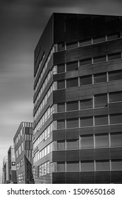 TRONDHEIM, NORWAY - SEPTEMBER 07, 2019: A black and white fine art photograph of modern architecture found in the Norwegian city of Trondheim.