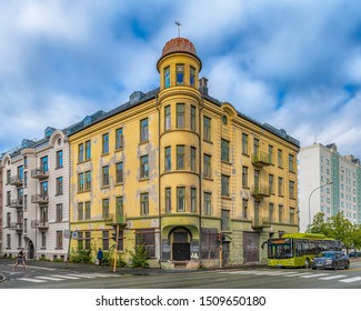 TRONDHEIM, NORWAY - SEPTEMBER 07, 2019: The Corner facade of a derelict building that has obviously seen better days.