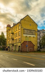 TRONDHEIM, NORWAY - SEPTEMBER 07, 2019: The gable end of a derelict building that has obviously seen better days.