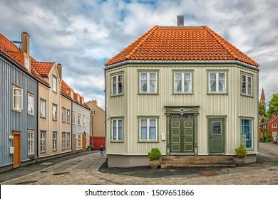 TRONDHEIM, NORWAY - SEPTEMBER 07, 2019: Bakklandet is an old town neighborhood in the city of Trondheim.