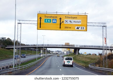Trondheim, Norway - September 26, 2015: Expressway road number E6 in direction of Trondheim from south at exit number 33.