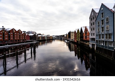 Trondheim Old CIty houses along the river