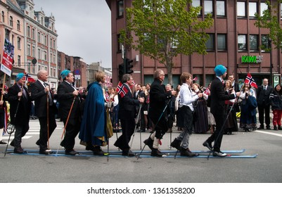 Trondheim/Norway-May 17, 2015: People celebrate the constitution day. Groups of people are marching and represent different professions, different categories of sport and other interest they may have.