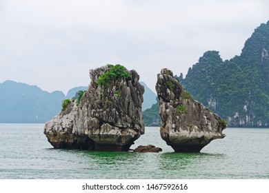 Trong Mai islet (Cock and Hen Island) in Halong bay, Vietnam. Another name is Hon Ga Choi Island (Fighting Cocks Island)