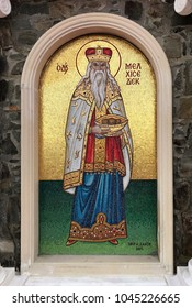 TROODOS, CYPRUS - JANUARY 10, 2018: High Priest King Melchizedek mosaic icon in greek orthodox church, Troodos, Cyprus.