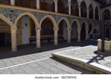 TROODOS/CYPRUS - FEBRUARY 15 2017: Kykkos monastery - wealthiest and best-known monastery in the heart of Troodos mountains. The Holy, Royal and Stavropegic Monastery of Kykkos. Byzantine architecture
