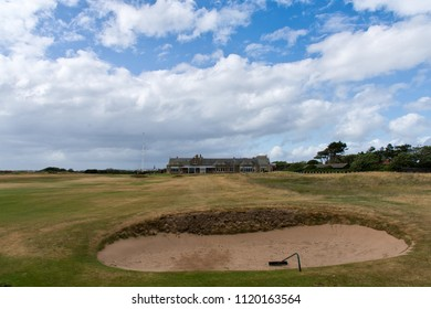 Troon, United Kingdom - June 14, 2018: 18th hole and clubhouse of Royal Troon Golfclub